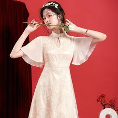 Ozipan - Mandarin Collar Embroidered Midi A-Line Dress
