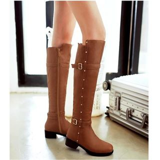 Freesia - Faux Leather Buckled Knee-high Boots