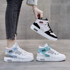 KORISE - Lace-Up Platform High-Top Sneakers