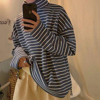 VERSIBO - Turtleneck Striped Long-Sleeve T-Shirt