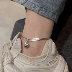Fireflicka - 925 Sterling Silver Heart Anklet