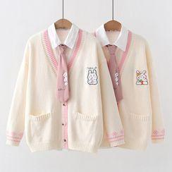 Angel Love - Rabbit Embroidered Cardigan / Shirt / Cartoon Print Neck Tie