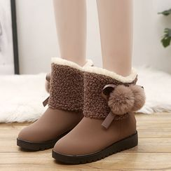 Aneka - 抓毛拼接毛毛球短靴