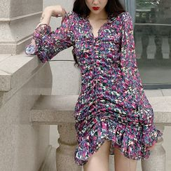 Windflower - Floral Long-Sleeve Mini Chiffon Dress
