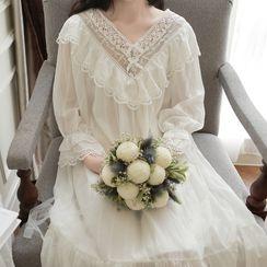 PinkRosa - Long-Sleeve Lace Panel Midi Chiffon Pajama Dress