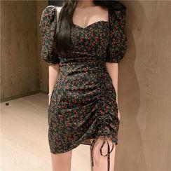 Elbelier - Short-Sleeve Floral A-Line Dress