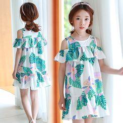 Youtale - Kids Short-Sleeve Leaf Print A-Line Dress