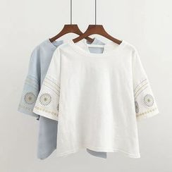 Elisah - Embroidered 3/4-Sleeve T-Shirt