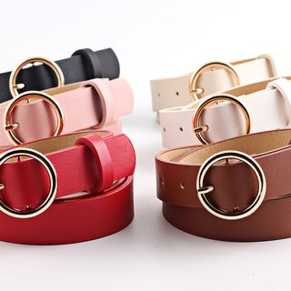 Leatha - Round Buckle Faux Leather Belt
