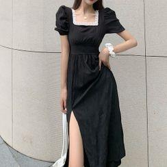 Beauvoir - Puff Sleeve Lace Trim Square Neck Slit A-Line Dress
