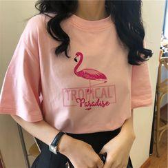 bloomingtide - Short-Sleeve Flamingo Print T-Shirt