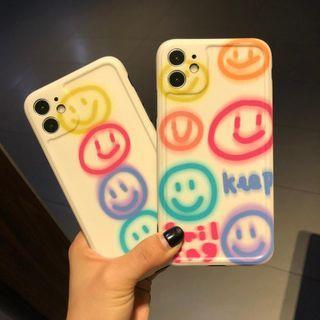 Huella(ヒューラ) - Smiley Face Phone Case For iPhone SE / 7 / 7 Plus / 8 / 8 Plus / X / XS / XR / XS Max / 11 / 11 Pro