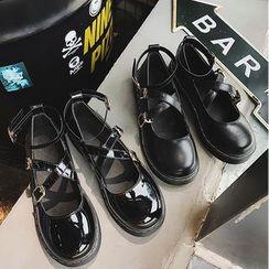 Hipsole(ヒップソール) - Platform Cross Strap Shoes