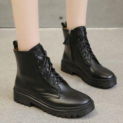 Yuki Yoru - Platform Block Heel Lace Up Short Boots