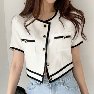 TRAO - Short-Sleeve Contrast Trim Blouse