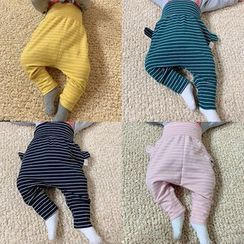 MOM Kiss - Baby Ear Accent Pinstripe Elastic Waist Pants