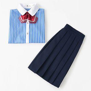Aiyiruo - 情侣装校服短袖衬衫 / 百褶迷你裙 / 西裤 / 套装