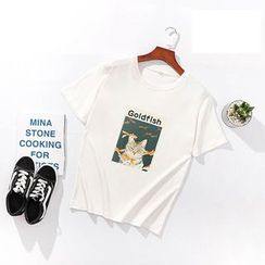 Carmenta(カルメンタ) - Short-Sleeve Cartoon Print T-Shirt