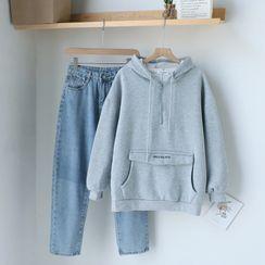 Gretchen - Plain Hoodie / Straight Fit Jeans