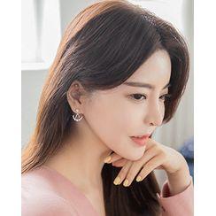Miss21 Korea - Rhinestone Star & Crescent Ear Jacket (2 PCS)