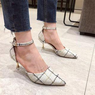 clog & wings - Tweed Pointed Kitten-Heel Sandals