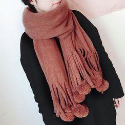 Pompabee - 絨毛球針織圍巾