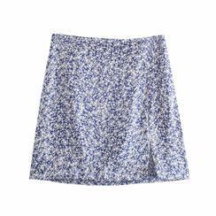 Omelia - Floral Print Mini A-Line Skirt