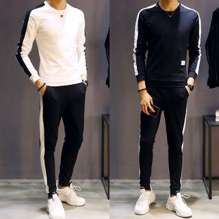 Andrei - Set: Contrast Trim Pullover + Sweatpants