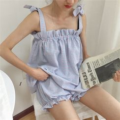Moon City - Plaid Pajama Set: Ruffle-Trim Tie-Shoulder Tank + Bloomers