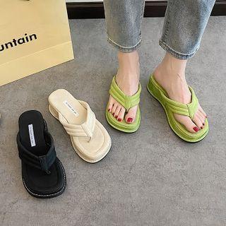 Moonwalk(ムーンウォーク) - Platform Wedge Heel Flip-Flops