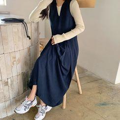 FROMBEGINNING - Box-Pleat Long Pinafore Dress