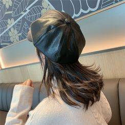 INKLEE - Faux Leather Newsboy Cap