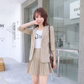 Princess Min(プリンセスミン) - Plaid Blazer / Mini A-Line Pleated Skirt / Dress Pants / Lettering Tank Top