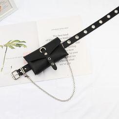 Rofuka - Faux Leather Pouch / Belt Bag / Belt / Set