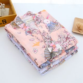 Somnus - Rabbit Printed Kimono Pajama Set