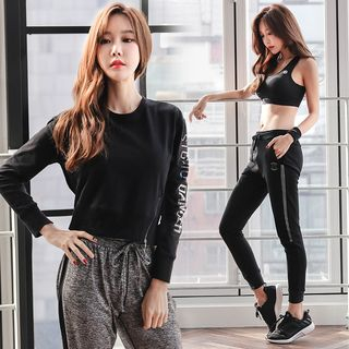 REALLION - Set: Sports Bra + Cropped Pullover + Drawstring Jogger Pants
