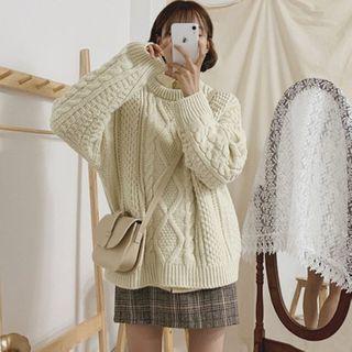Yunhouse - Cable-Knit Sweater / Mini Plaid A-Line Skirt / Set