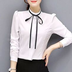 In the Mood - Ribbon Detail Stand Collar Long-Sleeve Shirt