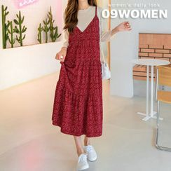 Seoul Fashion - PLUS SIZE Floral Tiered Long Pinafore Dress