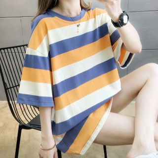 Annyoung - Couple Matching Elbow-Sleeve Striped T-Shirt