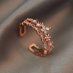 maxine - Rhinestone Flower Layered Open Ring