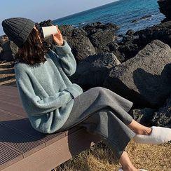 Lewwe - 套裝: 純色毛衣 + 寬腿長褲