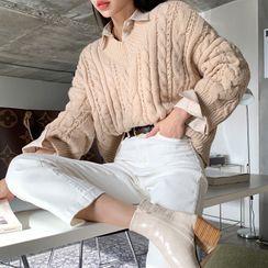DEEPNY - V-Neck Cable-Knit Sweater
