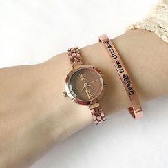 Momento - Set: Roman Numeral Bracelet Watch + Lettering Bangle