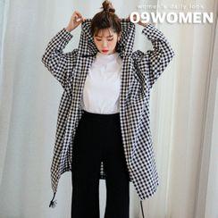 Seoul Fashion - PLUS SIZE Hooded Gingham Shirt Jacket