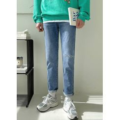 JOGUNSHOP(ジョグンショップ) - Band-Waist Distressed Straight-Cut Jeans