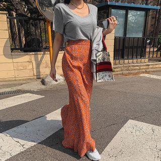 LIPHOP - Band-Waist Flared Maxi Floral Skirt