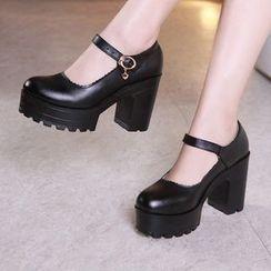 Hannah - 波浪边链条厚底粗跟鞋