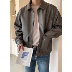 JOGUNSHOP - Flap-Pocket Zip-Up Pleather Jacket
