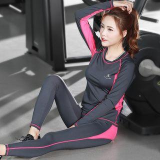 RITMO - 套裝: 配色邊長袖上衣 + 瑜伽褲